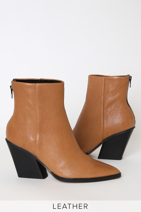 Issa Cognac Leather Pointed-Toe Ankle Booties