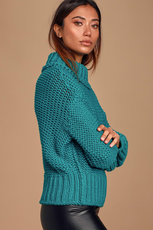 Free People My Only Sunshine Turquoise Knit Turtleneck Sweater Lulus
