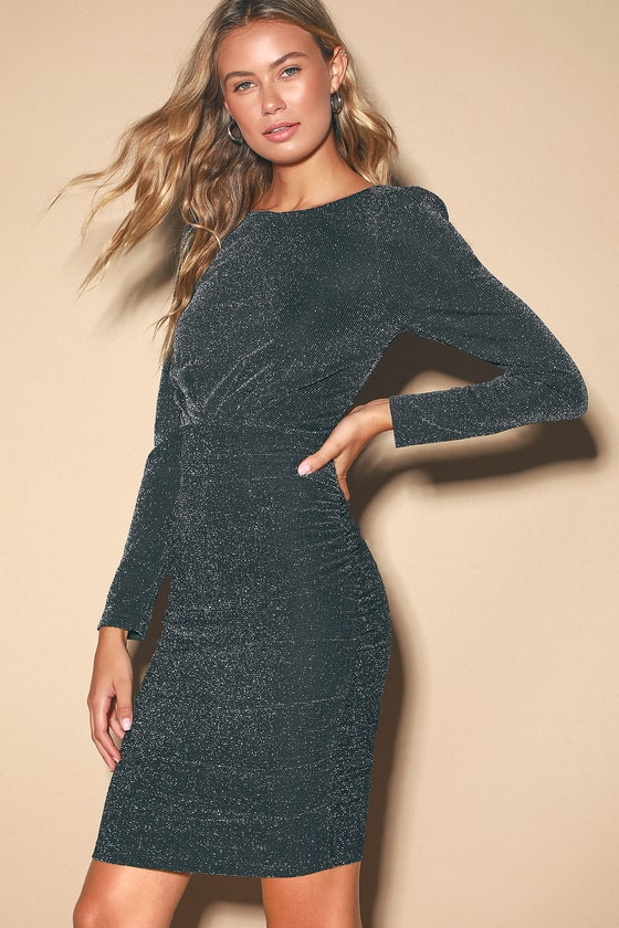Sexy Black and Silver Dress - Ruched Dress - Long Sleeve Bodycon