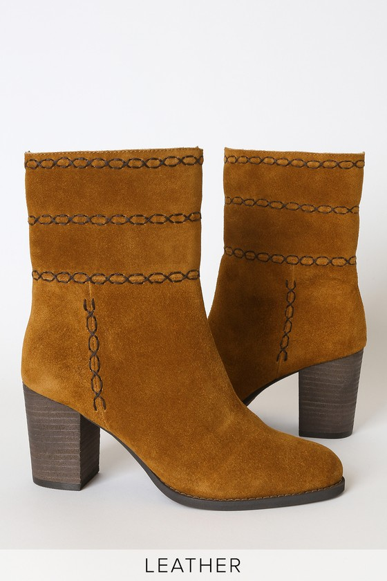 Aurora Rust Genuine Suede Leather Mid-Calf High Heel Boots