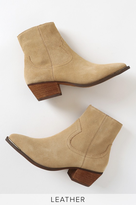 Creed Natural Suede Leather Pointed-Toe Ankle Booties
