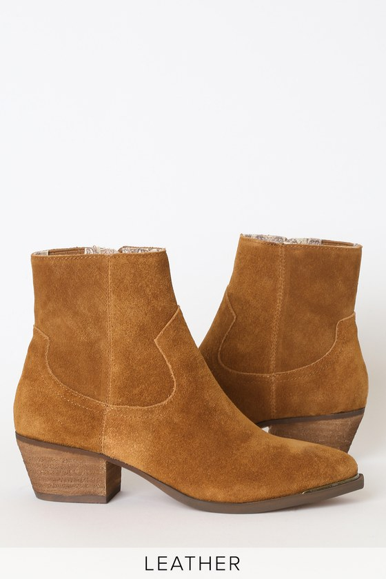 Creed Rust Brown Suede Leather Pointed-Toe Ankle Booties