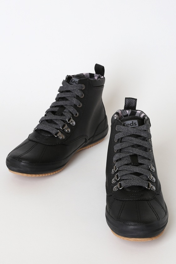 Scout Black Lace-Up Ankle High Heel Boots