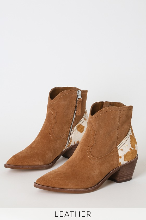 Senica Brown Genuine Suede Leather Ankle Booties