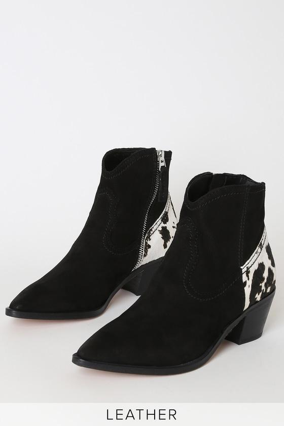 Senica Black Nubuck Leather Ankle Booties