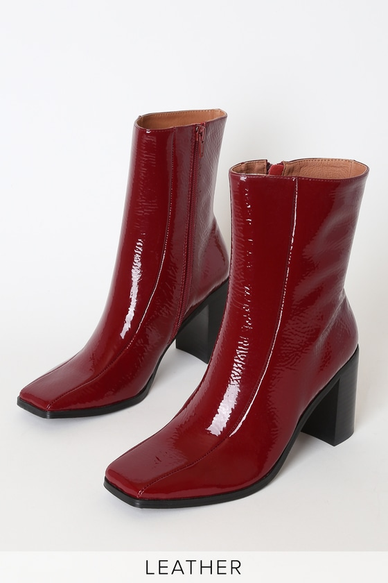 Bold Rosewood Red Patent Leather Square Toe Ankle High Heel Boots
