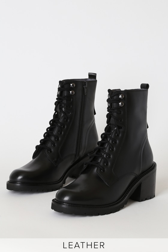 Irresistible Black Leather Mid-Calf Lace-Up High Heel Boots