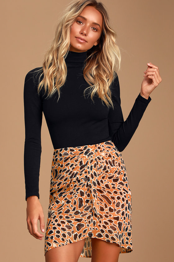 Wild Curiosity Orange Leopard Print Mini Skirt - Trendy Animal Print