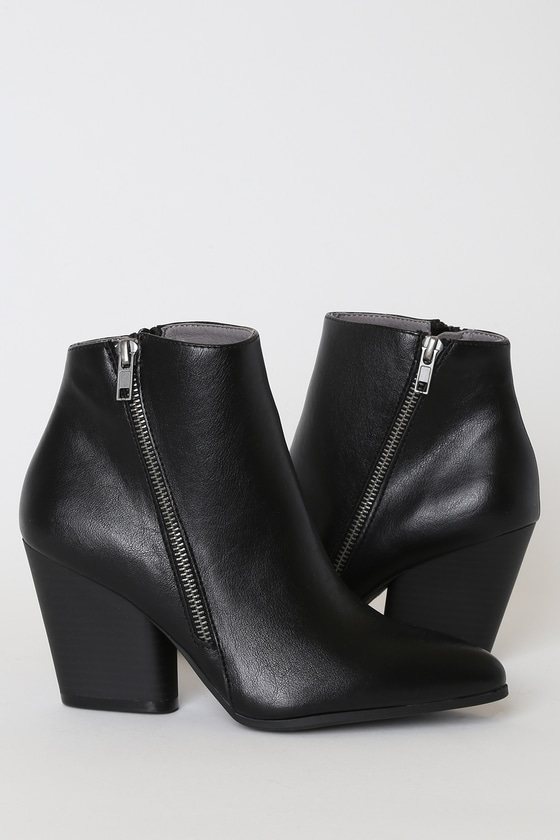 Hanston Black Pointed-Toe Ankle High Heel Boots
