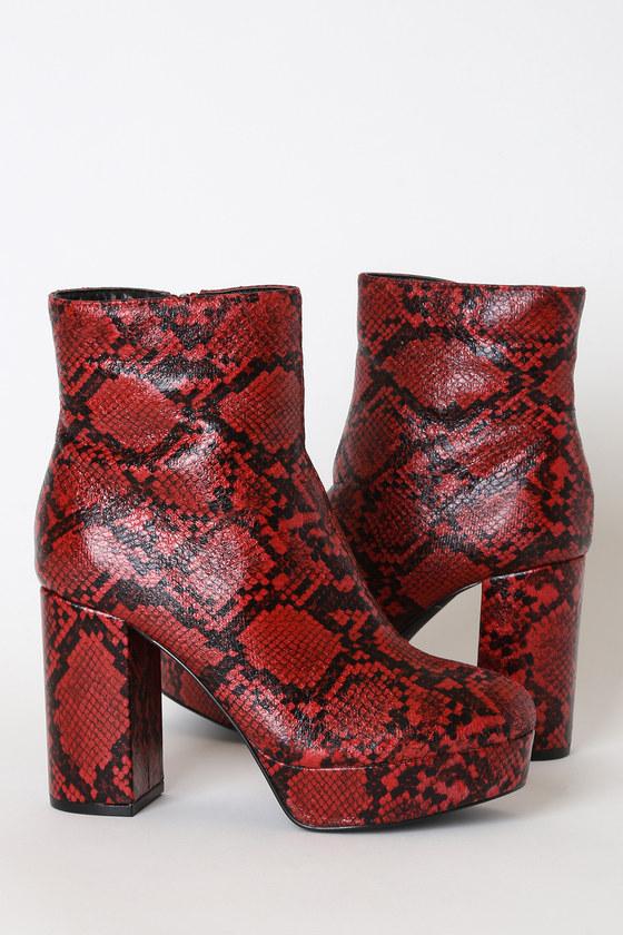 Layne Red and Black Snake Platform Ankle Booties