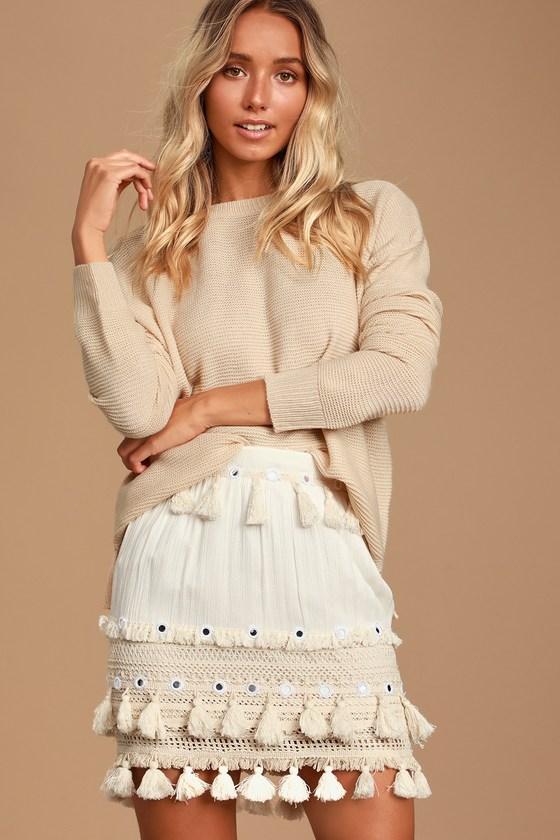 Golden Bliss Cream Tasseled Mini Skirt - Lulus