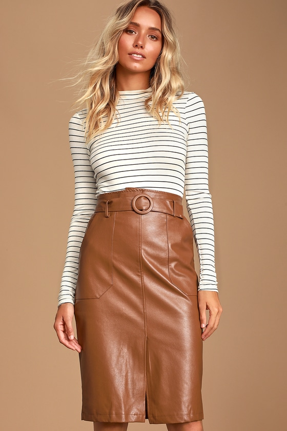 Rider Brown Vegan Leather Pencil Skirt