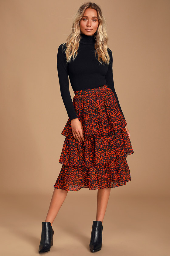 Duarte Black and Red Floral Print Pleated Tiered Midi Skirt