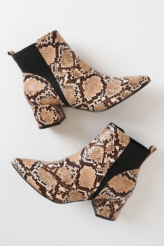 Chase Light Tan Snake Pointed Toe Ankle Booties