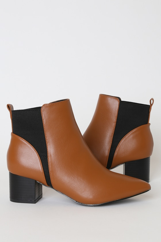 Chase Tan Pointed Toe Ankle Booties