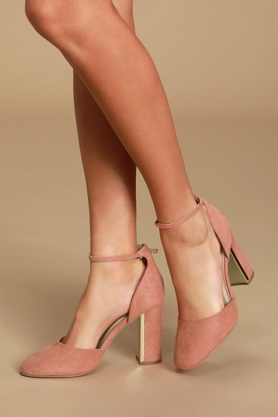 Mauve Suede Heels - Ankle Strap Heels