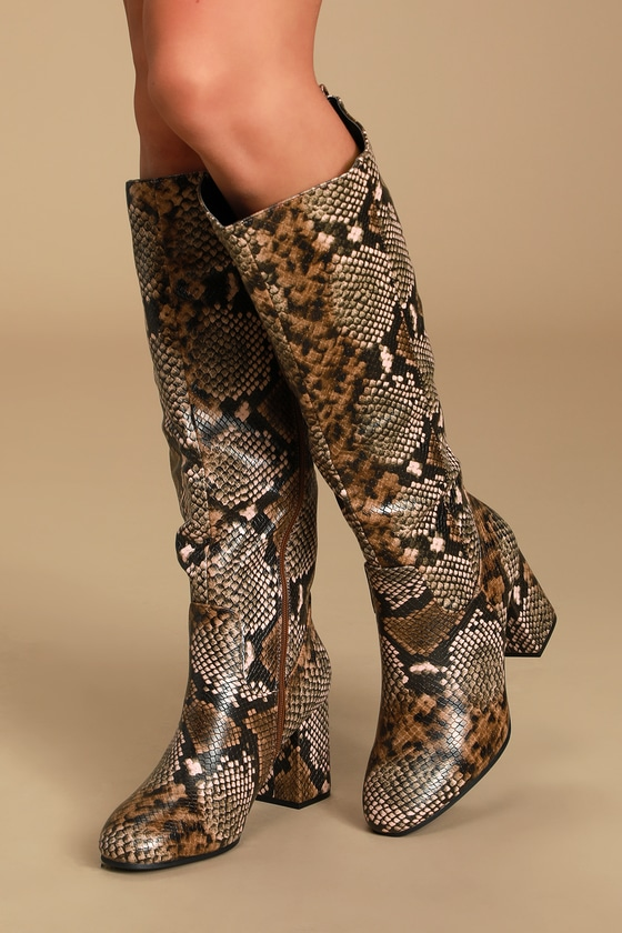 Macara Light Brown Multi Snake Knee High High Heel Boots