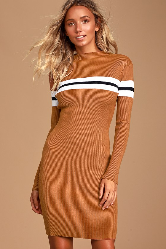 Blaire Camel Striped Ribbed Bodycon Sweater Dress - Fall Striped Outfit