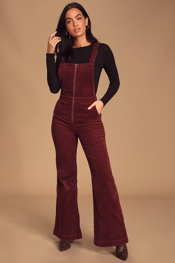 70s Jumpsuit | Disco Jumpsuits – Sequin, Striped, Gold, White, Black Eastcoast Flare Burgundy Corduroy Overalls - Lulus $111.00 AT vintagedancer.com
