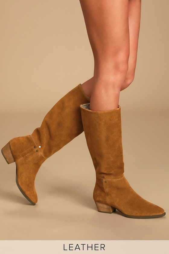 Larkspur Rust Genuine Suede Leather Knee-High High Heel Boots