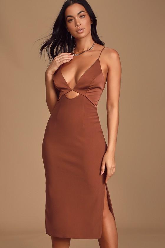 Paradise Rust Red Cutout Bodycon Midi Dress