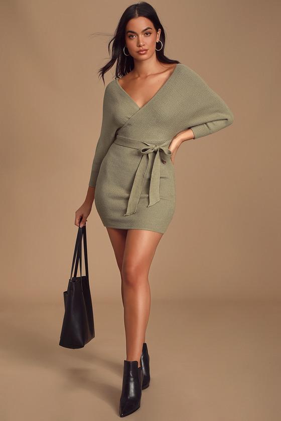 Modena Sage Green Dolman Sleeve Bodycon Sweater Dress