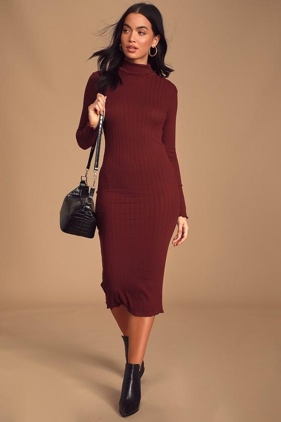 Lovely Burgundy Midi Dress Ribbed Knit Dress