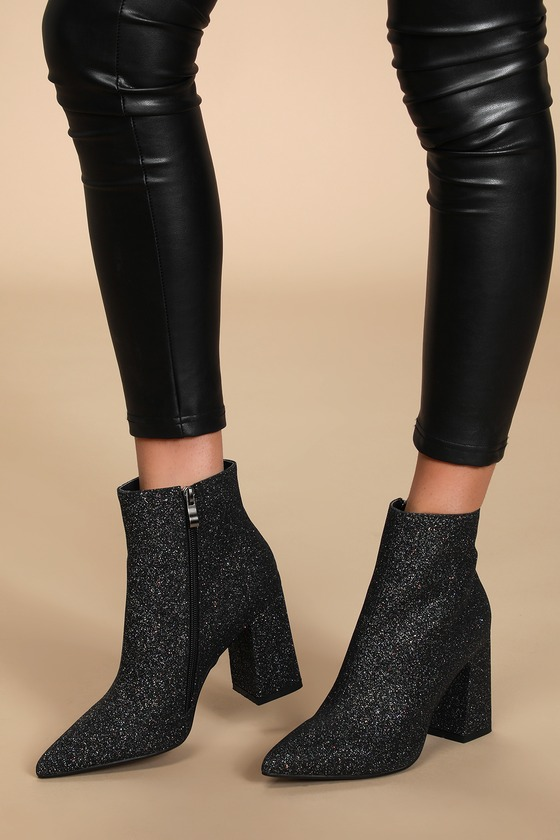 Felicia Black Glitter Pointed-Toe Ankle Booties