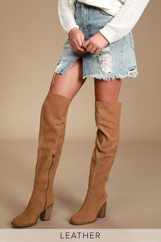 2019 original cheap sale promotion Loganos Chestnut Suede Leather Over-the-Knee Boots