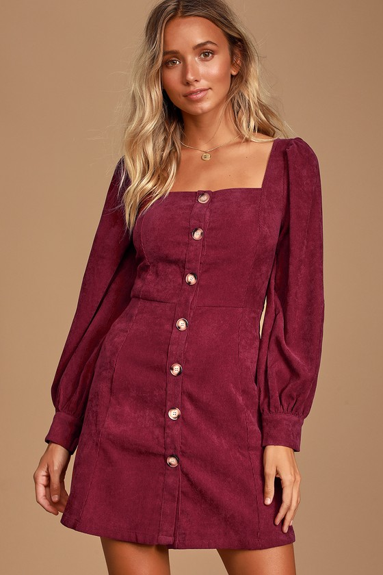 Burgundy Corduroy Dress - Button-Up Dress - Long Sleeve Dress