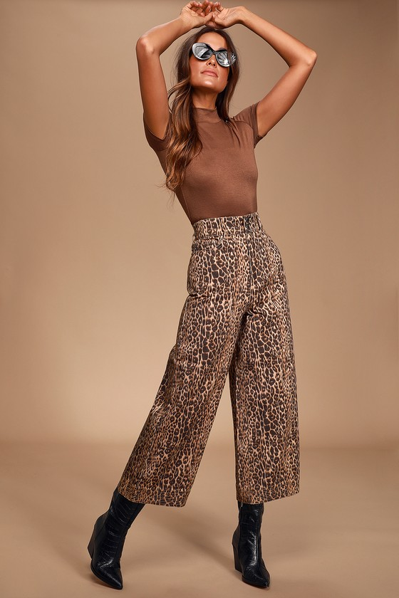 Reiterate Brown Leopard Print - Animal Print Pants Wide-Leg Jeans