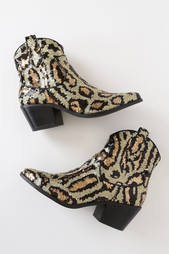 Lucki Leopard Sequin Pointed-Toe Ankle Booties