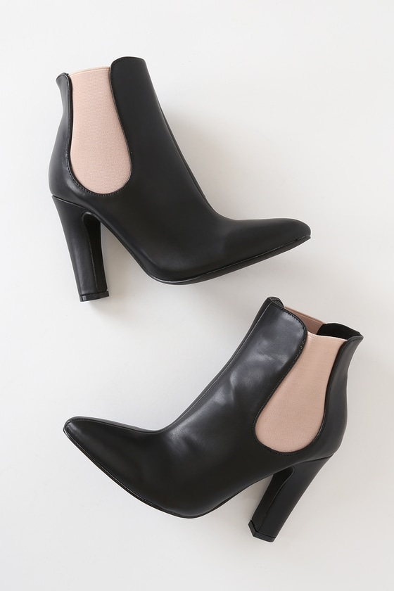 Rabea Black and Nude High Heel Ankle Booties