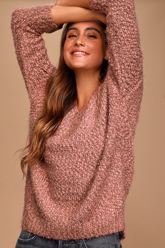 Lulus Exclusive! Cozy times call for cozy measures! The Lulus Jaycee Mauve Eyelash Knit Sweater is oh-so-comfy and cute thanks to its super soft, eyelash knit construction that forms the slouchy silhouette. Oversized bodice, with a V-neck and side slits at the hem, is framed by long sleeves with trendy drop shoulders, making this essential sweater perfect for snuggling up in! Fit: This garment fits true to size. Length: Size small measures 22.5\