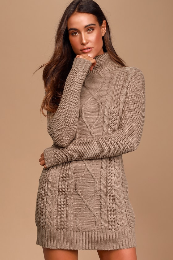 Crisp Mornings Taupe Cable Knit Turtleneck Sweater Dress