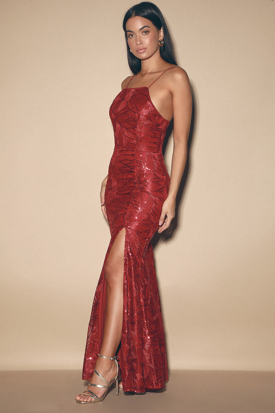 Pure Beauty Wine Red Sequin Sleeveless Maxi Dress by Lulus