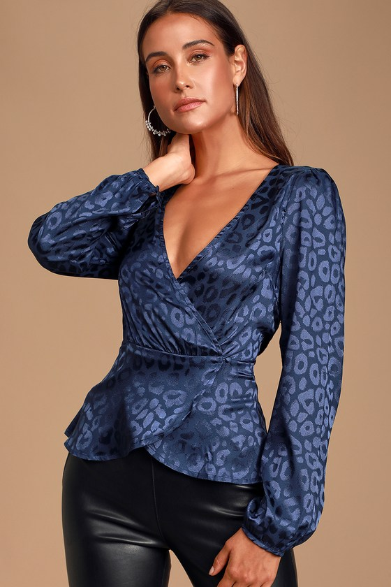 Day Love Navy Blue Jacquard Leopard Print Satin Peplum Wrap Top