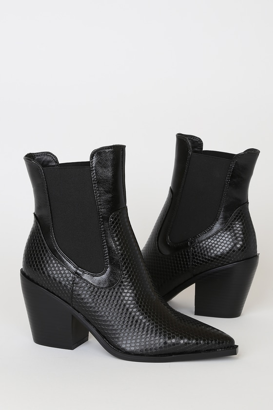 RAID Alyson Black Snake Pointed-Toe Mid-Calf High Heel Boots