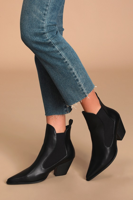 Flick Black Pointed-Toe Ankle Booties