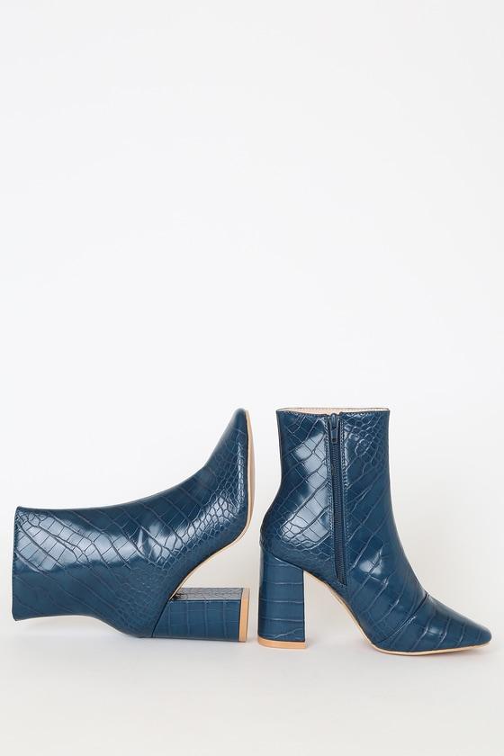 My Generation Navy Crocodile High Heel Mid-Calf Boots