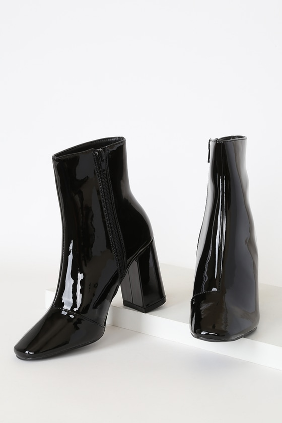 My Generation Black Patent High Heel Mid-Calf Boots