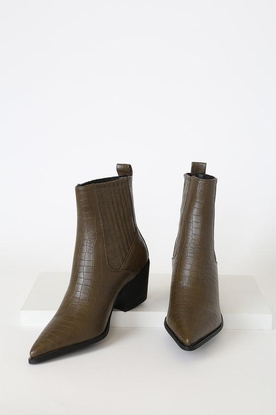 RAID Rocco-1 Khaki Crocodile Pointed-Toe Ankle High Heel Boots