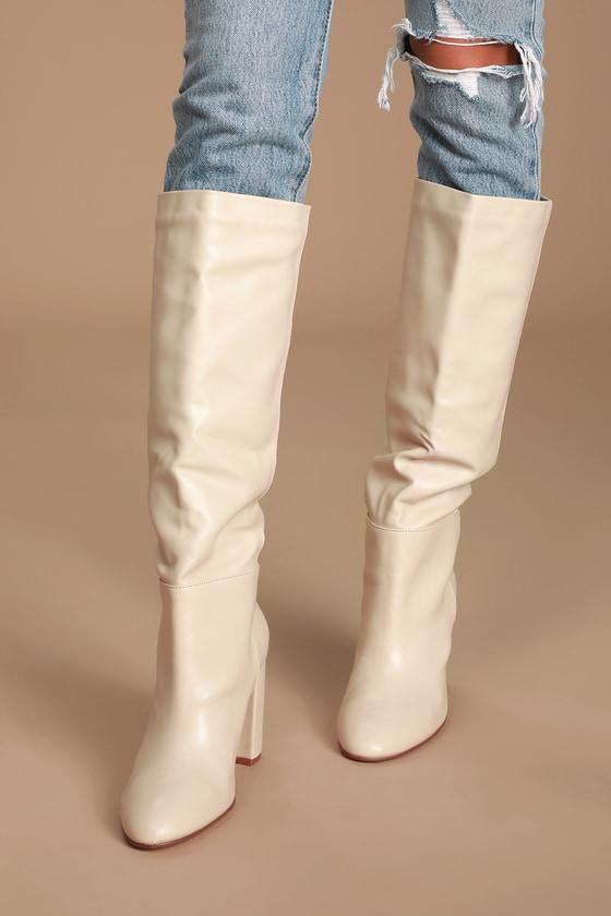 top style world-wide renown offer discounts Krafty Ecru Knee High Boots