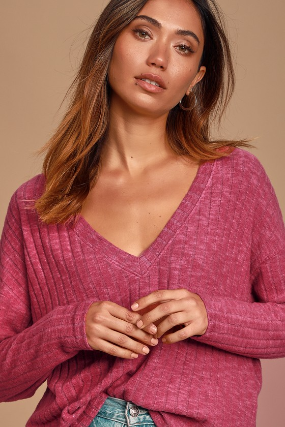 Aubriella Heather Pink Ribbed Sweater Top - Lulus