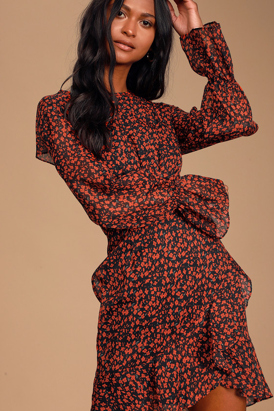 Kiama Black and Red Floral Print Ruffled Long Sleeve Dress - Lulus