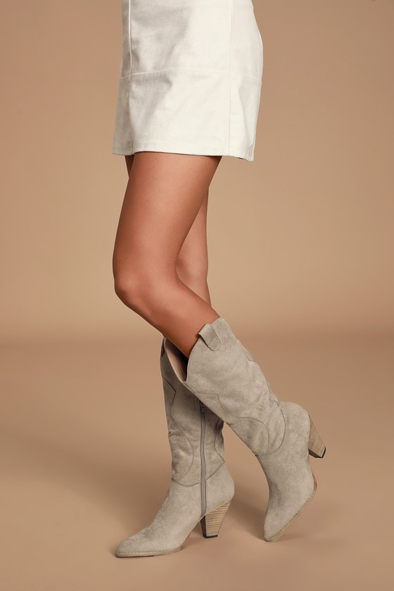 Klarissa Taupe Suede Pointed-Toe Knee High High Heel Boots