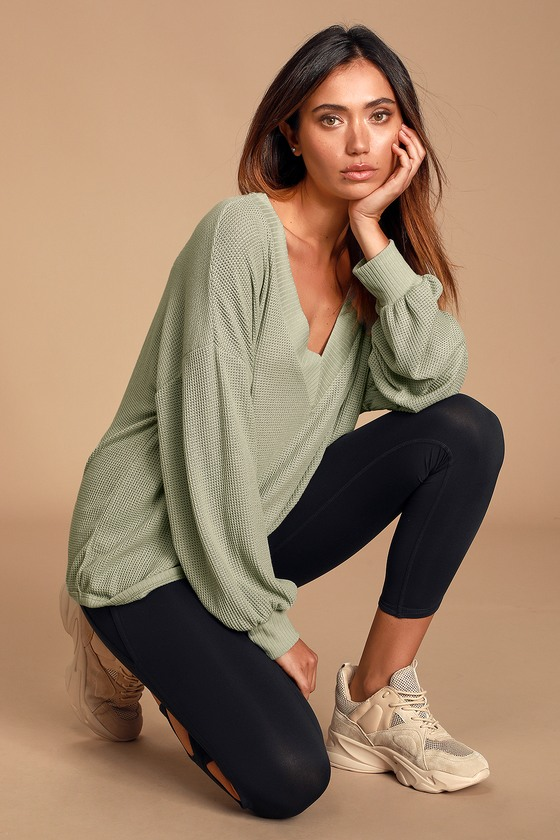 Personal Record Sage Green Knit Balloon Sleeve Sweater Top