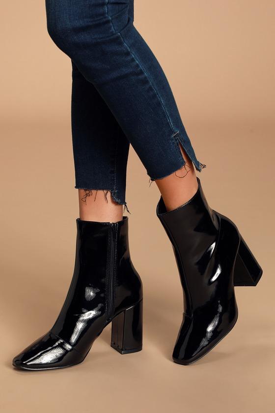 Stylish Black Patent Boots - Black