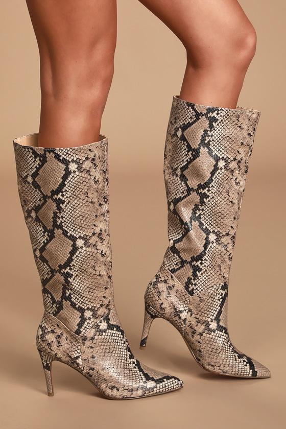 Kinga Pink Snake Pointed-Toe Knee High High Heel Boots