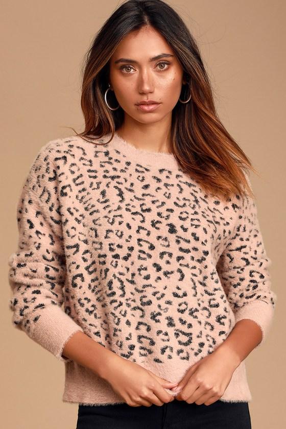 Flirtatious Fling Blush Pink Leopard Print Sweater